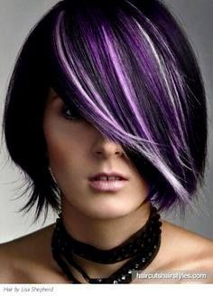 Purple + Platinum Highlights, Short Black Hair
