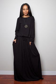 Black Dress Long Sleeve Modest Black Maxi Dress : by Nuichan