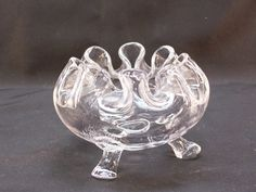 Viking Clear Glass 3 Footed Folded Flowerlite Style Rose Bowl Vintage 1960's #Viking