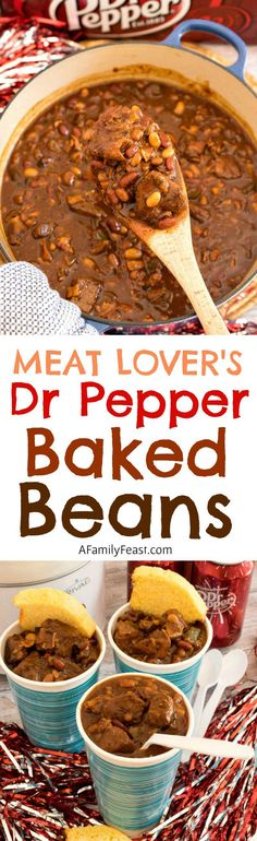 Meat Lover's Dr Pepper Baked Beans - A fantastic game day dish loaded with meat, beans and Dr Pepper flavor!