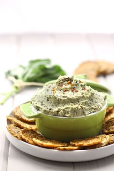Basil and Artichoke Dip made with blended cashews and nutritional yeast instead of mayonnaise and cheese! The perfect appetizer or dip recipe.