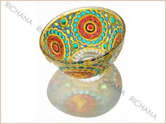 RichanaDragon ||| Glass bowl. Сan be used as dinnerware, as a bowl candle holder or jewelry storage (holder). Hand painted stained glass.