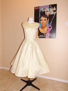 vintage 50's lace shawl tea length wedding dress $129.99