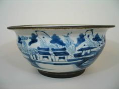 Antique Chinese Porcelain Blue And White Punch Bowl, Qing Dynasty