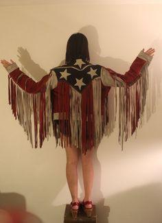 Vintage American Flag fringe leather jacket
