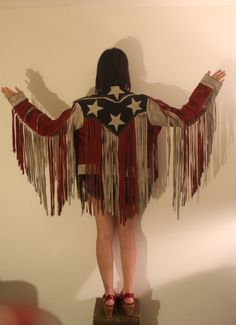 Vintage American Flag fringe leather jacket
