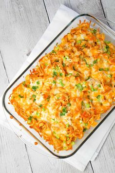 Buffalo Chicken Frito Pie is an easy casserole recipe using shredded rotisserie chicken and diced celery tossed in Buffalo sauce and ranch dressing, all topped with Fritos corn chips and cheese. Chicken Bacon Ranch Bake, Cheesy Chicken Casserole, Buffalo Chicken, Easy Casserole Recipes, Easy Dinner Recipes, Easy Meals, Recipes Using Rotisserie Chicken, Frito Pie, Bbq Bacon
