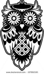 Image result for sugar skull owl black and white