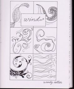Draw abstract elements, weather using doodle gestures. Wind Doodle Page by Wendy Adler
