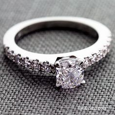 1 Carat D Color Cushion Diamond with side accents