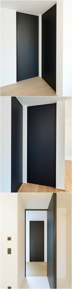 "Modern black interior door, custom-made from floor to ceiling. The minimal black door frame and the black vertical built-in handle are made from anodized aluminium. The door leaf is finished with black Resopal Massiv material (3mm) with a special ""traceless"" coating which prevents stains from fingerprints."