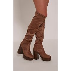Denney Mocha Faux Suede Platform Over The Knee Boots (€93) ❤ liked on Polyvore featuring shoes, boots, mocha, over the knee boots, over the knee thigh high boots, thigh high boots, over-knee boots and over knee boots