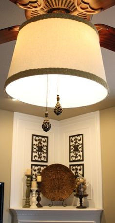 Diy ceiling fan makeover drum shade tutorial shows how to attach taking a drum lamp shade and converting ceilings fan lights aloadofball Choice Image