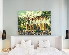 Items similar to Large canvas wall art, vintage archery art girls, bow arrow beach art women canvas art Beach Decor bedroom art over the bed art on Etsy