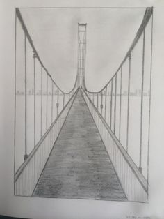 Abbigail Thurman-Linear perspective is used Cc Drawing, Bridge Drawing, Pencil Art Drawings, Art Drawings Sketches, Easy Drawings, Perspective Drawing Lessons, Perspective Art, 7th Grade Art, Elements Of Art