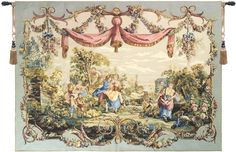 Offering of Love French Wall Hanging A - H 44 x W 58 Wall Tapestry, Blue Tapestry Weaving, Tapestry Wall Hanging, Chintz Fabric, Foto Transfer, French Walls, Love French, European Home Decor, Victorian Art, Oeuvre D'art
