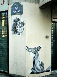 """Réviser """"Le corbeau et le renard"""" de Jean de Lafontaine. Beerens - street art - rue du Renard, Paris 4."""