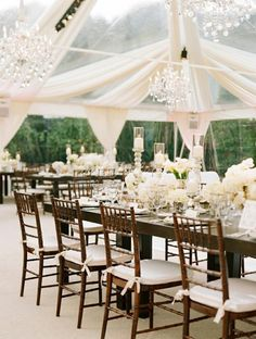 My Dream Wedding Tent! chandelliers, white folors and candles, wooden chairs, long tables, white drapes with clear tent. Tent Wedding, Wedding Receptions, Wedding Table, Wedding Events, Our Wedding, Dream Wedding, Wedding Blog, Summer Wedding, Marquee Wedding