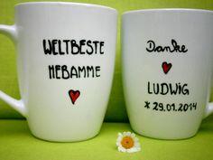 Hebamme Geschenk Weltbeste Hebamme Tasse von hochdietassen via dawanda.com