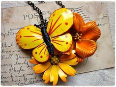Statement Necklace, Orange Yellow Vintage Enamel Flower Collage #jewelry #necklace #orange #vintage $45