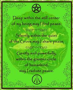 Book of Shadows: Peace Blessing.