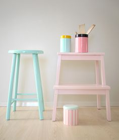 These pastel-colored stools are so sweet, especially the baby pink one! I have a white stool just like it that I use to get 'into' my way-too-tall bed.