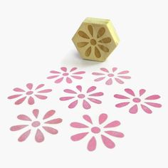 Flower Burst Stamp, Hexagon Wood Mounted Rubber Stamp