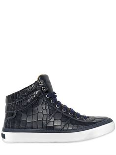 JIMMY CHOO - CROC EMBOSSED LEATHER HIGH TOP SNEAKERS