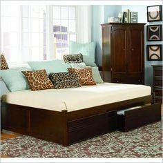 Atlantic Furniture Concord Platform Bed with Flat Panel Footboard in Antique Walnut - AP81X2004 - Lowest price online on all Atlantic Furniture Concord Platform Bed with Flat Panel Footboard in Antique Walnut - AP81X2004