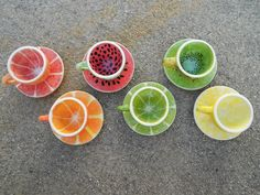 Fruit Teacups by AimeesArtandCeramics on Etsy, $30.00