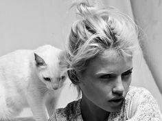 #cat #white #girl