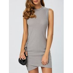 Just US$17.63, buy Gray Asymmetric Knitted Sleeveless Jumper Bandage Dress online shopping at GearBest.com Mobile.