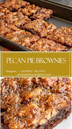 Pecan Pie Brownies are a rich, chocolate and pecan pie Thanksgiving dessert recipe that you're going to want all year long Pecan Recipes, Brownie Recipes, Sweet Recipes, Baking Recipes, Cookie Recipes, Dessert Recipes, Just Desserts, Delicious Desserts, Pecan Desserts