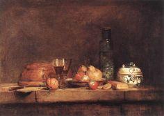 Jean-Baptiste Simeon Chardin - stillleben mit glas von oliven