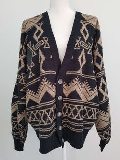 Snazzy vintage black & brown cardigan | Yeah Yeah Retro
