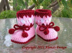 Crochet Pattern - Cherries Baby Booties.