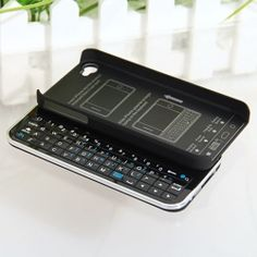 Mini Ultra-thin Slide-out Wireless Bluetooth Keyboard with Hard Shell Case for iPhone 4 4S (Black) - want!!