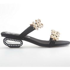 Women's Shoes Genuine Leather Stylish Block Heel Slipper Sandal With Rhinestone More Colors Available – USD $ 37.99