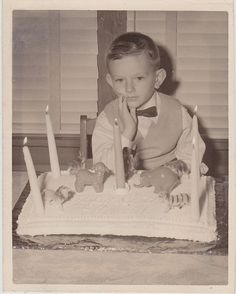 Antique Photograph Cute Little Boy Sitting By Five Year Old Birthday Cake
