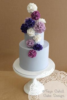 Pale Blue wedding cake with Purple accents