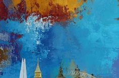 London Skies (Blue), Abstract Expressionist London Skyline, 2016, Limited Editions of 20 - Big Fat Arts | BFA Gallery | Czar Catstick - 4