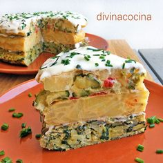This tortilla cake is a lifelong recipe for mothers and grandmothers, a perfect dish to brighten up a party table with simple tortillas cake recipes unicornio cake cake de carne de tortilla salados individuales Egg Tortilla, Cake Portions, Best Meal Delivery, Minis, Spanish Dishes, Love Food, Quiche, Tapas, Cake Recipes