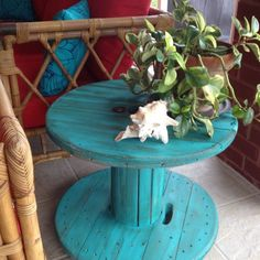 recycling wood spools | Wooden spool + Casters + Free Ace Hardware paint = Fun patio table