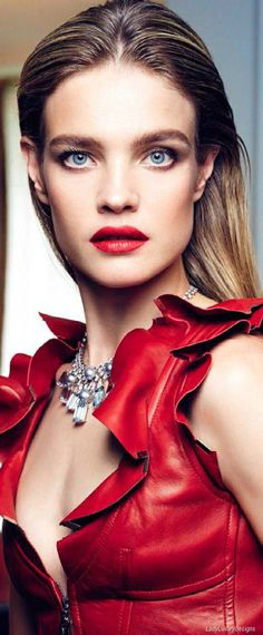 RED - Natalia Vodianova-by Nico Bustos - Sonia Rykiel, Red Fashion, Colorful Fashion, Leather Fashion, Red Leather, Donna Karan, Vivienne Westwood, Christian Dior, Givenchy