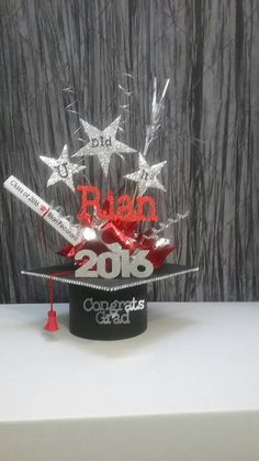 Graduation centerpiece by UniqueandGlitzy on Etsy