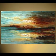 Original abstract art paintings by Osnat - abstract seascape in blue and brown