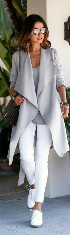 Fall trends | Grey coat and top, white pants, sneakers, handbag