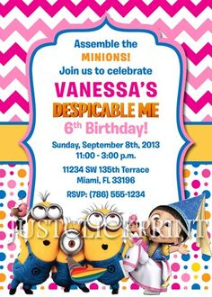 Despicable Me Minions Boy Girl Birthday Invitation - Printable UPRINT | DigitalDelight - Digital Art on ArtFire
