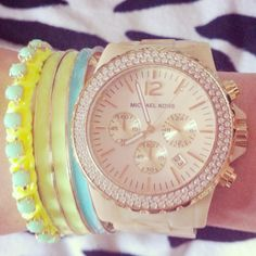 Cream Michael kors watch with some neon!!