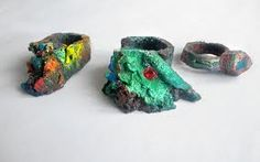 """Żeligowski-Jakub -POLAND 12 rings made of acrylic paint exhibited in the Milano Gallery-Warsaw 2010 """"akub Zeligowski has been designing jewellery for about 20 years now.  He designs custom jewellery for commercial purpose. This jewellery is being sold in galleries all aroud the world."""" http://zeligowski.wix.com/zeligowski"""